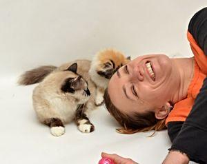 Volunteer and cat